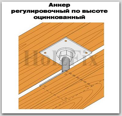 Анкер регулировочный по высоте оцинкованный для дерева и деревянных конструкций