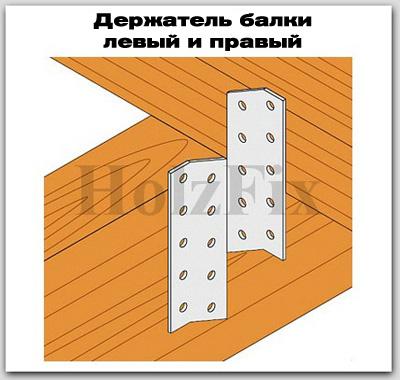 Держатель балки правый и левый для дерева и деревянных конструкций