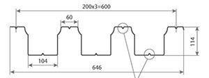 Профнастил H114-600 размеры