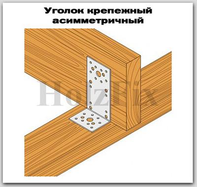 Уголок крепежный асимметричный для дерева и деревянных конструкций