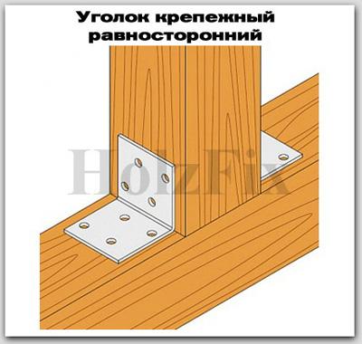 Уголок крепежный равносторонний для дерева и деревянных конструкций