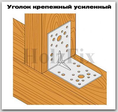 Уголок крепежный усиленный для дерева и деревянных конструкций